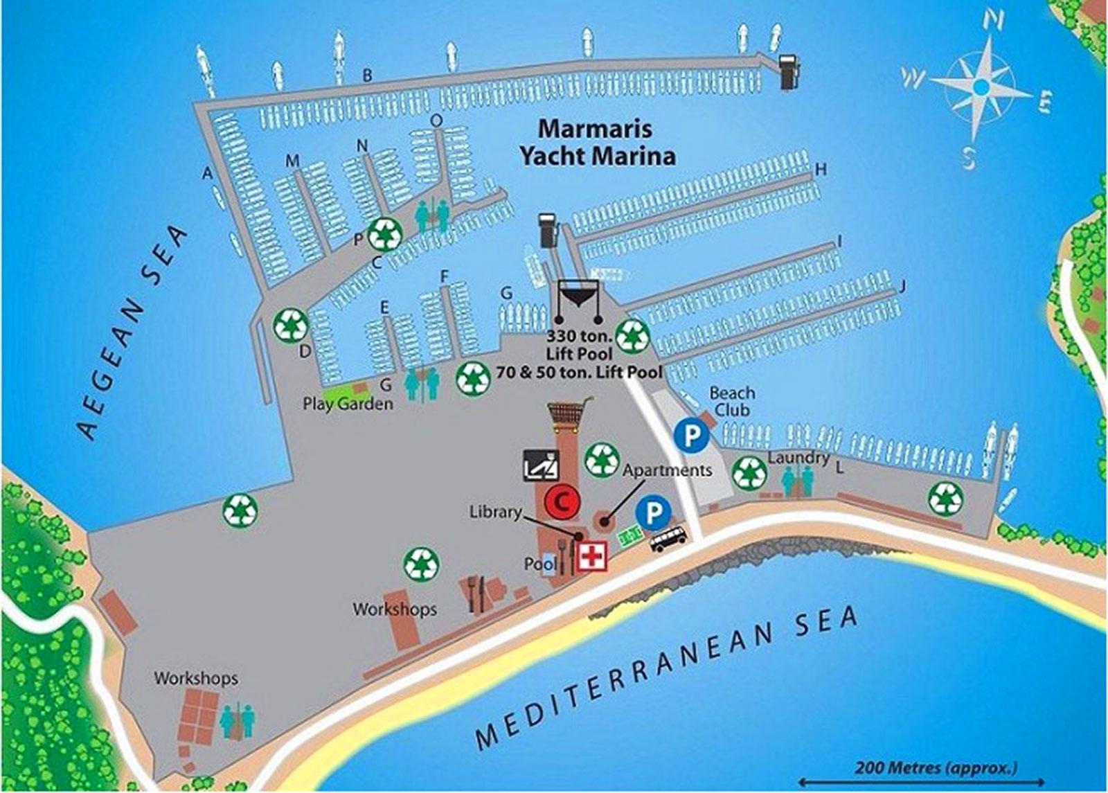 Схема расположения отелей мармарис